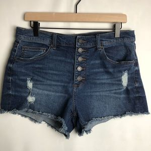 Refuge Dark was button fly front distressed shorts